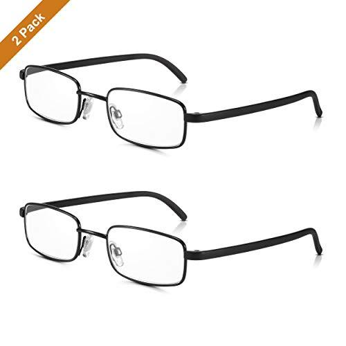 Read Optics 2er Pack schwarze Vollrand Lesebrillen: Retro Brillen mit Metall-Rahmen für Herren/Damen. Ultra dünne, leichte Lesehilfen mit rechteckigen, klaren Premium Gläsern in Stärke +2,5 Dioptrien