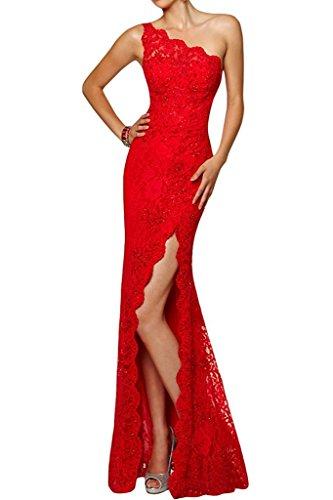La_Marie Braut Hell Champagner Langes Ein-traeger Etuikleider Abendkleider Ballkleider Partykleider Bodenlang Rot