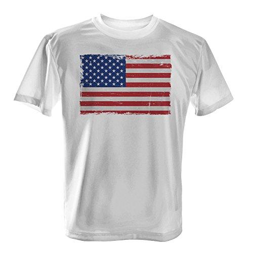 USA Flagge - Herren T-Shirt von Fashionalarm | US Fahne Flag Vintage Rock Grunge Fun Shirt Stars and Stripes Banner Vereinigte Staaten von Amerika, Farbe:weiß;Größe:XL