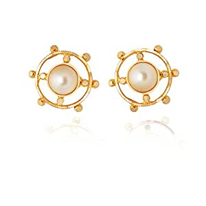 Lagu Bandhu 22KT Yellow Gold and Pearl Stud Earrings for Women