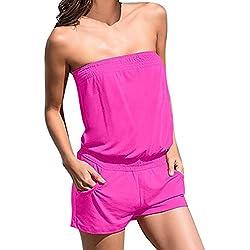 Juleya Femme Été Plage Combinaison Combishort Courte Solide Couleur Slim Fit Combi-Short Bandeau Jumpsuit avec Poches Noir Rouge Rose Bleu S-XL