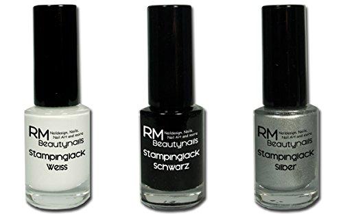 RM Beautynails 3x Stampinglack 4ml Weiss Schwarz Silber Nagellack