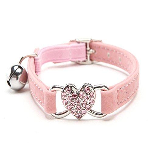 Doublehero Verstellbar Hundehalsband Katzenhalsband Niedlich Crystal Bowtie Bell Beflockung Halsband für Hunde Katzen (Rosa) Rosa Bowties