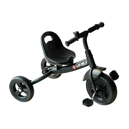 Triciclo para niños de más de 18 Meses con Timbre Guardabarros y Ruedas de Seguridad Color Negro 74x49x55cm