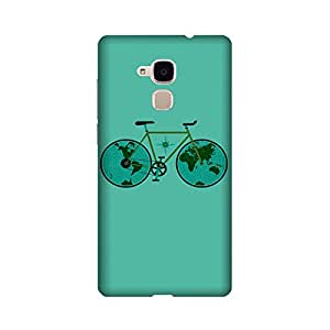Abaci designed Huawei Honor 5c Mobile Backcover with Perfect Matte finishing and Bicycle Illustration design(Blue)