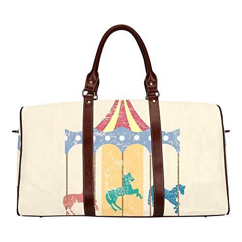 Reisetasche Vergnügungspark Vergnügungspark Karussell wasserdichte Weekender-Tasche Reisetasche für Frauen Damen-Einkaufstasche Mit Mikrofaser-Leder-Gepäcktasche