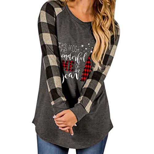 BOLANQ Damen Weihnachtslange Hülsen Unterseiten Hemd Elch Druck Plaid Pullover T-Shirt Spitze beiläufige Lange Hülse(Medium,B-Grau)