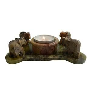 Bougeoir pour bougies chauffe-plat Lumignon Éléphants en Stéatite pierre à savon Artisanat indien