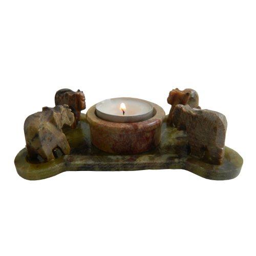 Soporte vela Elefantes 13 x 8 cm esteatita piedra de talco