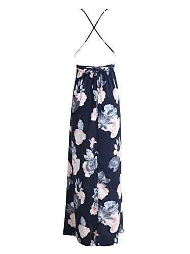 Simplee Apparel Damen Partykleid Sexy Blumen V-Ausschnitt Rückenfrei Maxi Lang Träger Kleid Abendkleid Strandkleid Blau Dunkel Blau