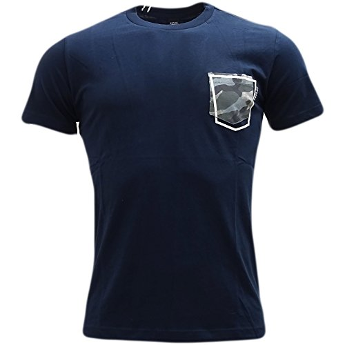 Replay Men's Men's White T-Shirt With Patch Pocket 100% Cotton Navy