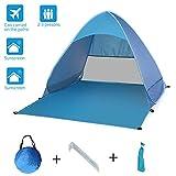 Tenda da spiaggia pop up facile, tenda da sole portatile Cabana, riparo da spiaggia anti UV, impermeabile all'ombra per la spiaggia traspirante, installazione facile, picnic, escursionismo, campeggio
