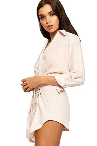 WEARALL Damen Croset Tie Hemd Kleid Damen Öse Schaltfläche Nach Oben Kragen Lang Hülle Ebene - 36-42 Rosa