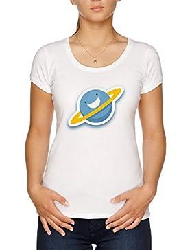 Vendax Dibujos Animados Azul Planeta Camiseta Mujer Blanco