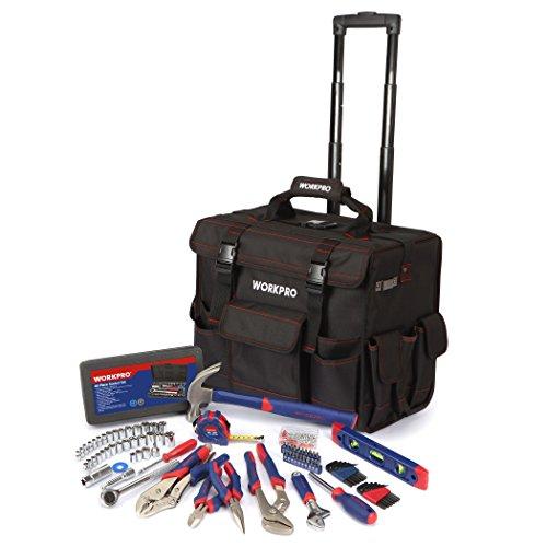 WorkPro w009029a 176-Piezas Herramienta Set Con Bolsa De Herramientas Con Ruedas, acero cromo vanadio herramienta para el hogar