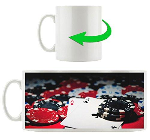 carte da poker Motif tazza in bianco 300ml ceramica, grande