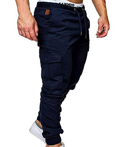 SANMIO Jogger Cargo Herren Chino Jeans Hose Herbst Winter Stretch Freitzeithose- Gr. EU S/ Etikettgröße: M, Navyblau