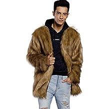 MEIbax Moda Abrigo de Piel Chaquetas para Hombres cálido Cardigan Grueso de  Piel sintética con Cuello daa69d795ee6