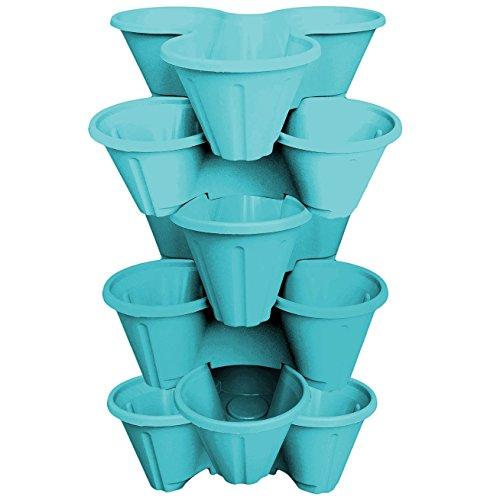 Crazygadget® Set di 6 vasi per coltivare fragole e odori, 3 vasi impilabili, per interni e giardino