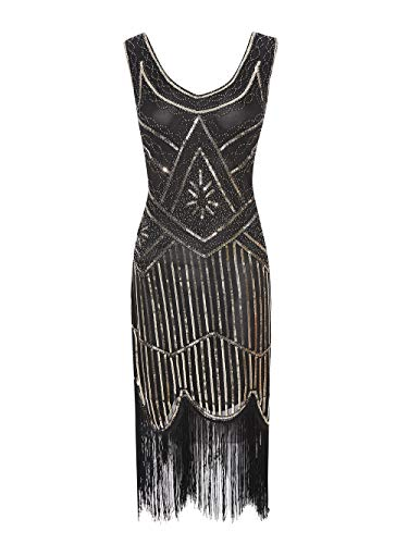 Viloree 1920 Pailletten verschönert Quasten Falten Flapper Damen Mini Kleid Party Gastby Motto Gold Schwarz ()