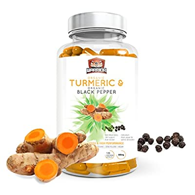 Organic Turmeric Curcumin 600mg & Organic Black Pepper | High Strength & Absorption | Suitable for Vegetarians & Vegans | 120 Capsules | Soil Association Certified | Made in UK by Unchained Warrior®