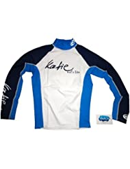 Katie - T- shirt hommes Protection UV manches longues bleu spandex rashguard UPF 50+ protection solaire