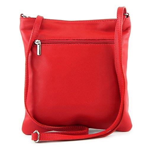 modamoda de - ital. Ledertasche Umhängetasche Schultertasche Tasche Klein Nappaleder T57 Rot