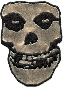 """MISFITS Skull cranio Chrome cromo Patch toppa, Officially Licensed Products Classic Rock Artwork, Iron-On / Sew-On, 3"""" x 2.4"""" Embroidered ricamato PATCH"""