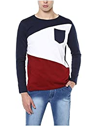 Urbano Fashion Men's Navy Blue, White, Maroon Round Neck Full Sleeve T-Shirt