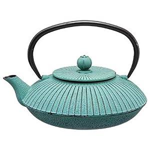 Théière en fonte 80cl Garden coul: Bleue/Verte - Thé Tisane - infusion - s'utilise avec du thé vert, thé blanc, thé noir, Rooibos, les infusions fruitées, les mélanges de Maté, les infusions épicéés
