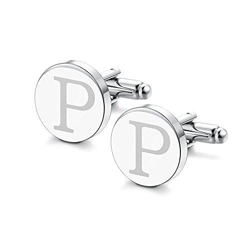 Sailimue Klassische Manschettenknöpfe für Männer Gravierte Initiale Manschettenknopf Alphabet Buchstaben A-Z Cufflinks (Buchstaben Gravierte)