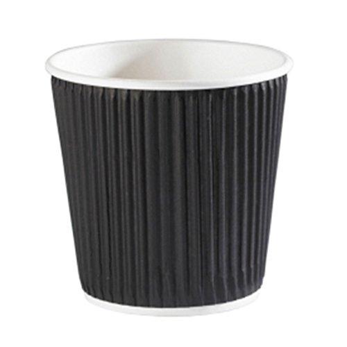 Kraft Schwarz Ripple Einweg Kaffeetassen 113,4g/120ml–40Stück–Einweg Papier...