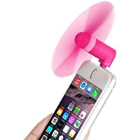 King of Flash Mini USB Phone Fan 3.5 Inch Colourful Fashion Portable Plug In Fan 8 Pin Adapter For Apple iPhones 5/5S/6/6S/6Plus/6SPlus Two Leave Rotator Fan (Hot Pink)