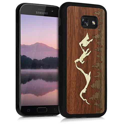 kwmobile Holz Schutzhülle für Samsung Galaxy A5 (2017) - Hardcase Hülle mit TPU Bumper Ahornholz in Berge Intarsie Holz Design Dunkelbraun Hellbraun Braun - Handy Case Cover (Handy Cover Holz)