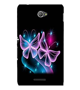 printtech Butterfly Shimmer Stars Back Case Cover for Sony Xperia E4 Dual::Sony Xperia E4