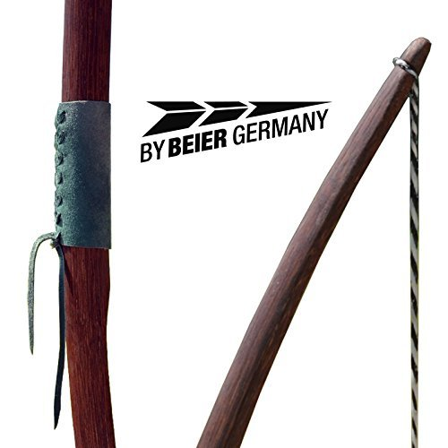 By Beier Germany Strongbow Marksman Langbogen mit Ledergriff, Dunkel Natur, 50 Zoll (15 lbs), 408