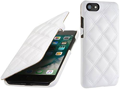 StilGut Book Type Case mit Clip, Hülle Leder-Tasche für iPhone 8 & iPhone 7. Seitlich klappbares Flip-Case aus Echtleder für das Original iPhone 8 & iPhone 7 (4,7 Zoll), Schwarz Nappa Weiß Nappa - Karat
