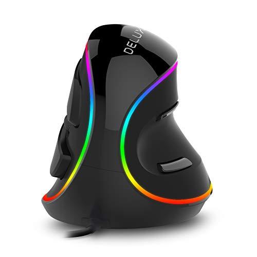 DELUX Vertikale Maus, ergonomische Maus mit RGB-Beleuchtung, 5 einstellbare DPI (800-1200-1600-2400-4000 DPI), 6 Tasten, abnehmbare Handgelenkauflage, optische Maus für Laptop PC Computer -
