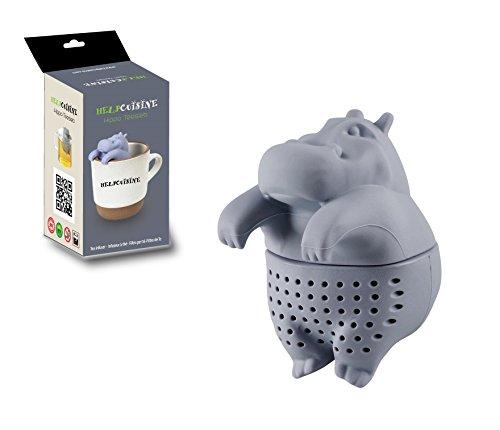 faultier teesieb HelpCuisine® teesieb teeei teefilter Tea Infuser teekugel in Nilpferd-Form, Modernes Design aus hochwertigem Silikon 100% BPA frei, 1St. in Grau in der Originalen Verpackung