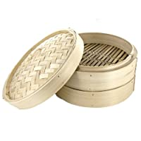 12-inch Chinese Bamboo Steamer - 3 Piece Set