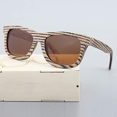 Zbertx Männer/Frauen Holz Bambus Sonnenbrille Zebra Grain Punk Style Mit,Brown