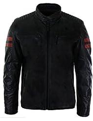 Blouson court en cuir véritable de couleur noir style Biker Racing surpiqué sur épaules zip rétro décontracté