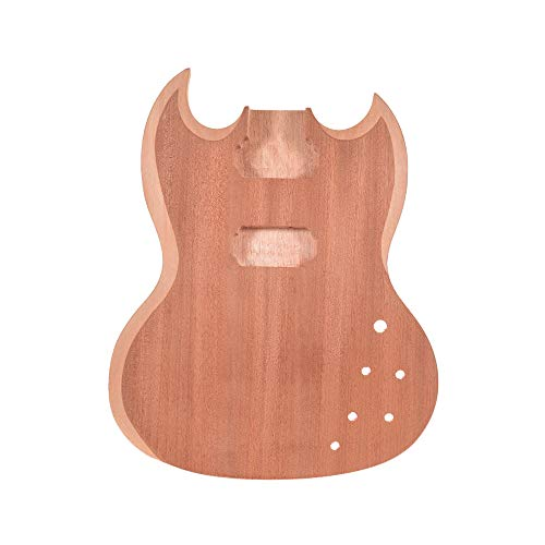 Muslady Cuerpo de Guitarra Sin Terminar Caoba Madera en Blanco Guitarra Barril...