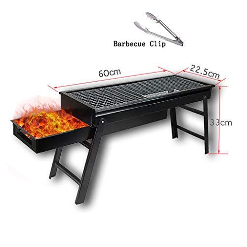DZLXY Griglia per Barbecue di Grandi Dimensioni (60 * 23 * 33 cm), Barbecue Portatile griglia Pieghevole per 3-5 Persone, Carbone di Legna per Barbecue da Campeggio,a60*23 * 33cm