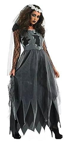 Aimerfeel tot grau und schwarz Leiche Braut Abendkleid Größe (34-36) (Graue Geist Kostüm)