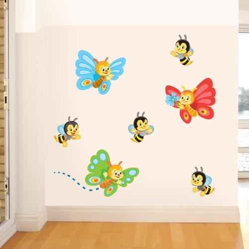 STIKID - COOL BEES AND BUTTERFLIES - 90x43 cm- Wall stickers Wandtattoo Wallsticker - aufkleber - decal - kinder deco
