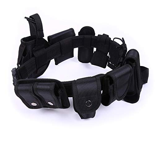 WENDAYETURAN Multifunctional Tactical Belt with Buckle Paramilitary Equipment Safety Belt for Security Guard (Black)