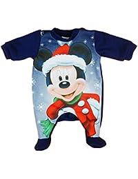 Jungen Baby-Strampler Weihnachts-Strampler Baby Weihnachtsoutfit Langarm Fuß WARM Mickey Mouse GRÖSSE 56 62 68 74 Blau Neugeborene 0 3 6 9 Monate Geschenkidee Weihnachtlich