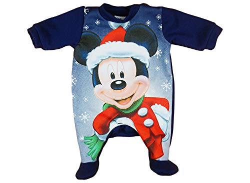 Kleines Kleid Jungen Baby-Strampler Weihnachts-Strampler Baby Weihnachtsoutfit Langarm Fuß WARM Mickey Mouse GRÖSSE 56 62 68 74 Blau Neugeborene 0 3 6 9 Monate Geschenkidee Weihnachtlich Größe 56