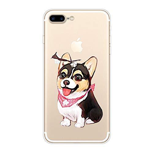 Herbests Kompatibel mit iPhone 8 Plus/iPhone 7 Plus Hülle Transparent mit Muster Motiv Crystal TPU Silikon Handyhülle Weich Durchsichtige Schutzhülle Handytasche Softcase Backcover,Hund